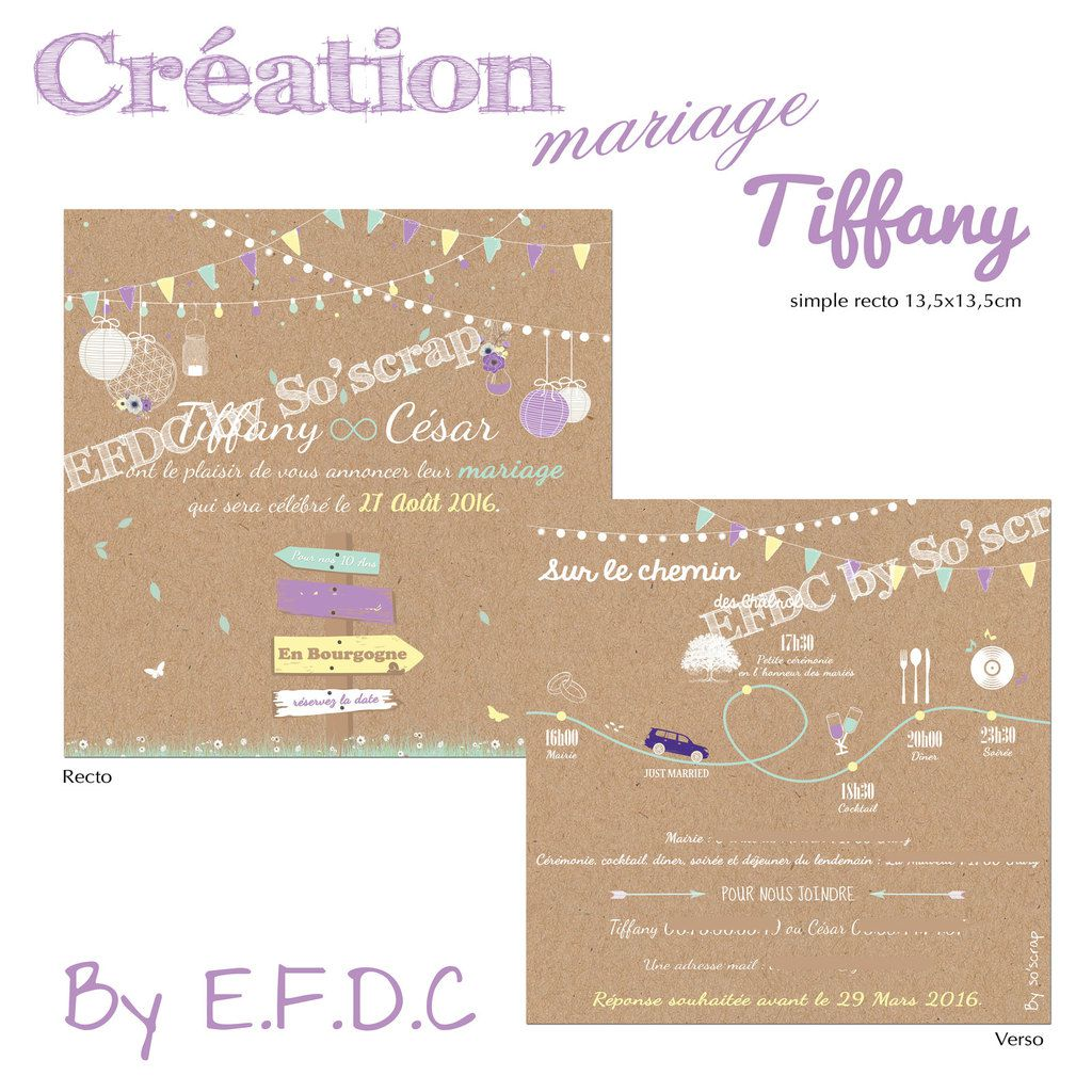 Souvent Le Blog d'EFDC by So'scrap - Le faire part de mariage de Tiffany  NY23