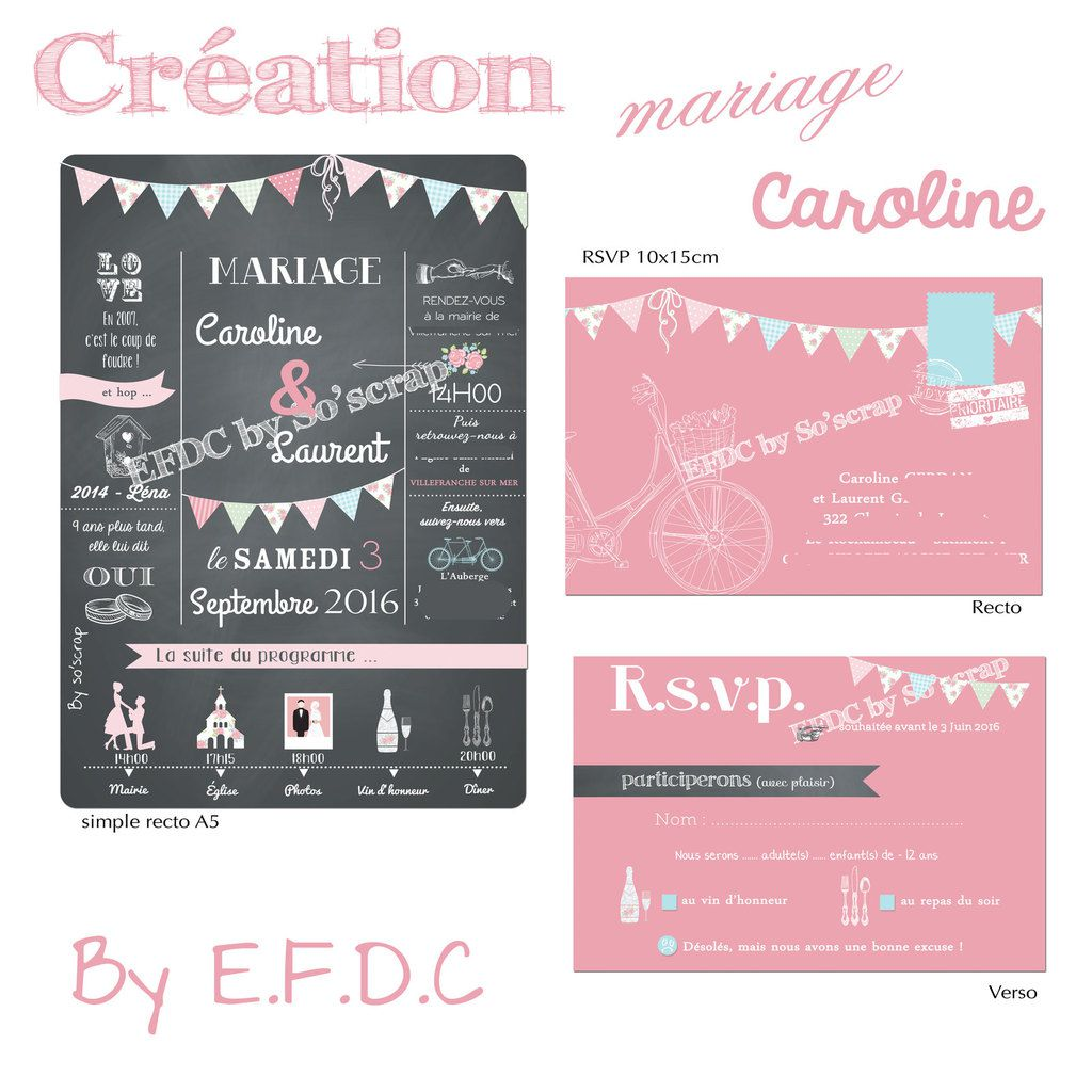 le blog d 39 efdc by so 39 scrap le faire part de mariage de caroline et laurent bicyclette. Black Bedroom Furniture Sets. Home Design Ideas