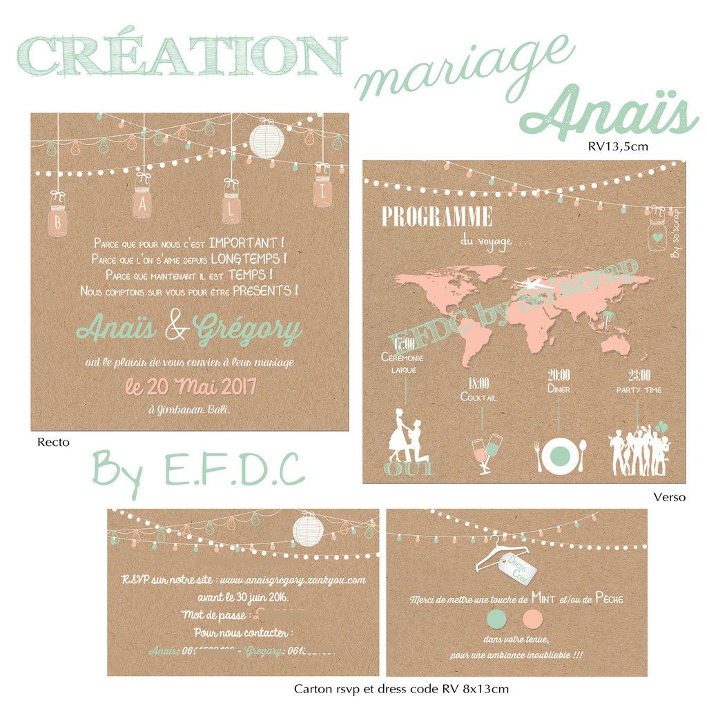 faire part mariage, thème voyage, BALI, scrapbooking digital, recto verso 13,5cm, lampions, carte monde, avion, vert mint et corail, programme pictogrammes, impression fond kraft, en option : RSVP et dress code assorti RV 8x13cm