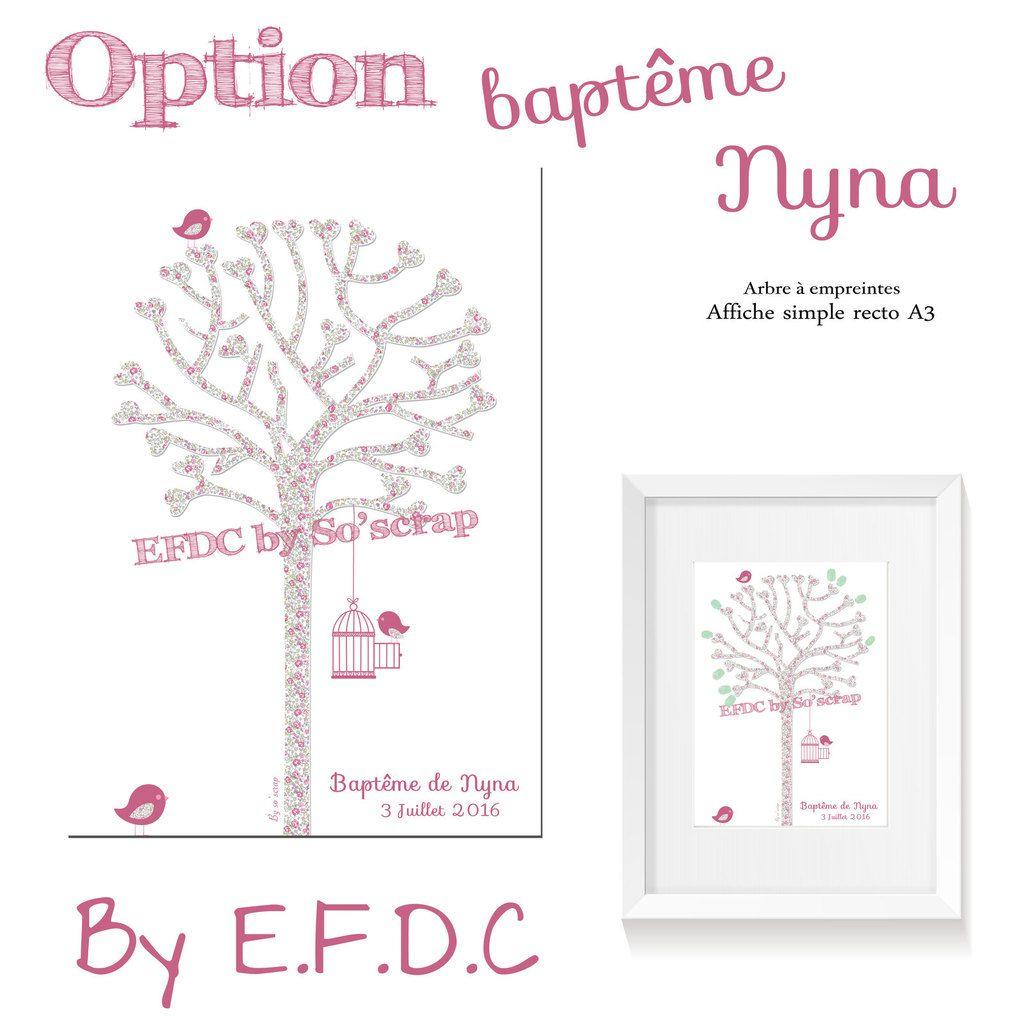 affiche simple recto A3 arbre à empreintes baptême liberty, oiseaux, cage, à personnaliser, scrap digital