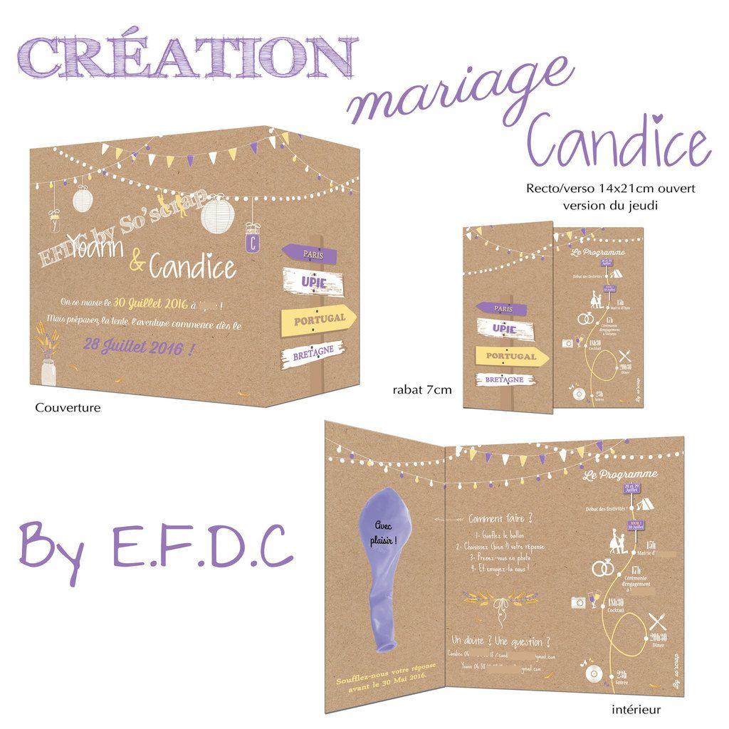 Exceptionnel Le Blog d'EFDC by So'scrap - Le faire part de mariage de Candice  FB79