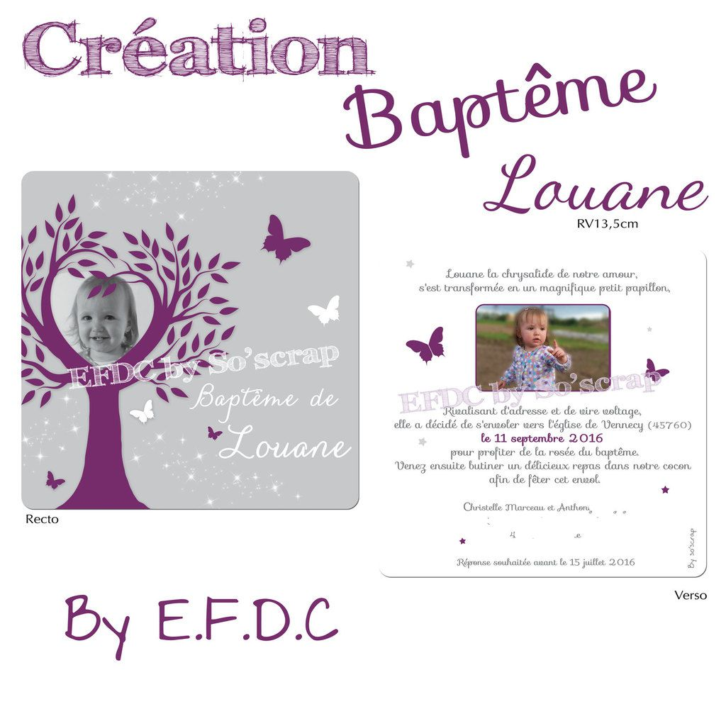 Faire Part Bapteme Papillon A Imprimer : Le d efdc by so scrap faire part baptême de la