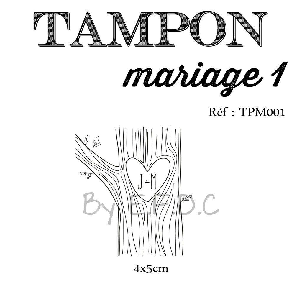 RÉF TPM001 : Tampon mariage sur mesure à personnaliser, thème nature, arbre, gravure nom dans le tronc, scrap digital, montage sur support bois