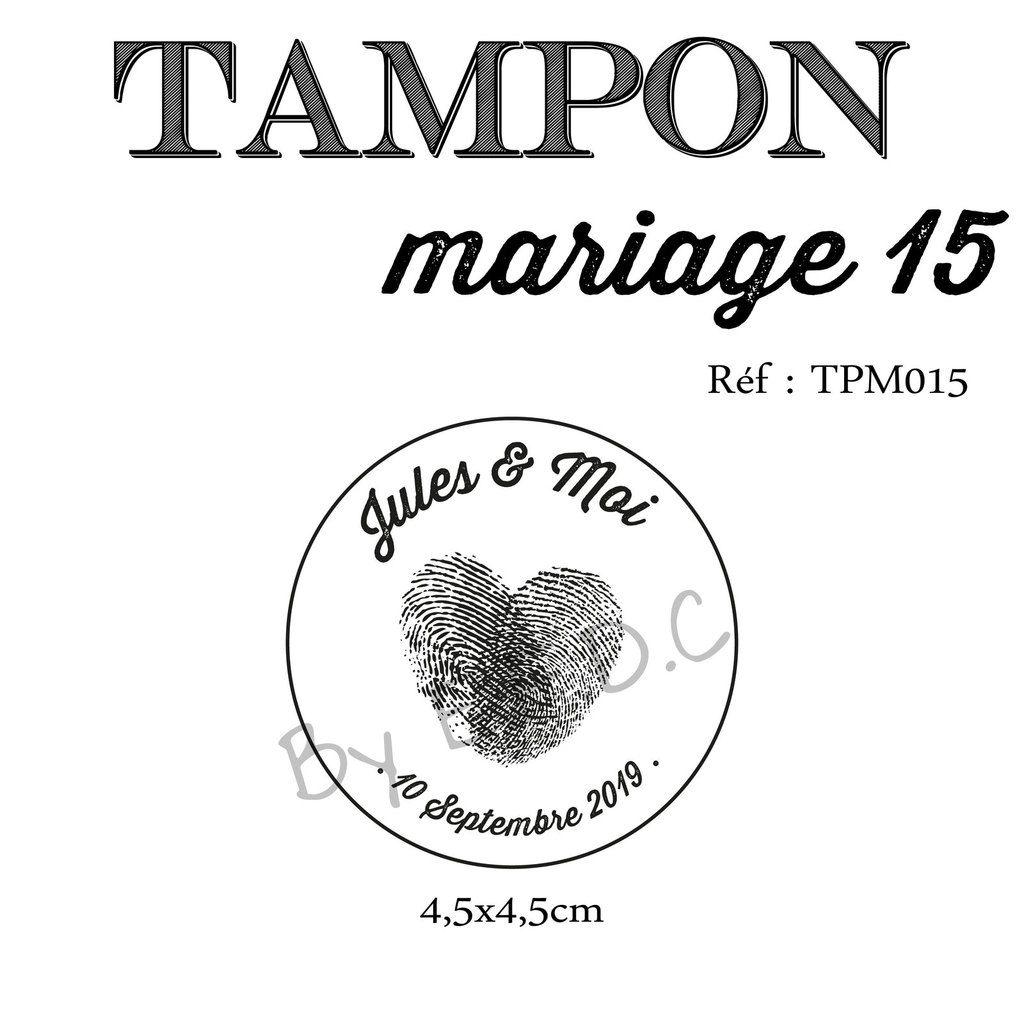 RÉF TPM015 : tampon mariage sur mesure et à personnaliser, rond, empreintes de doigts forme coeur, prénoms des mariés et date de mariage, scrap digital, montage sur support bois