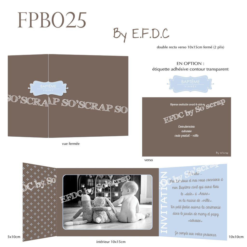 RÉF : FPB025, faire part baptême 2 plis, 10x15cm fermé, autocollant pour fermeture en option, chocolat et bleu layette, photo et texte personnalisables, scrap digital