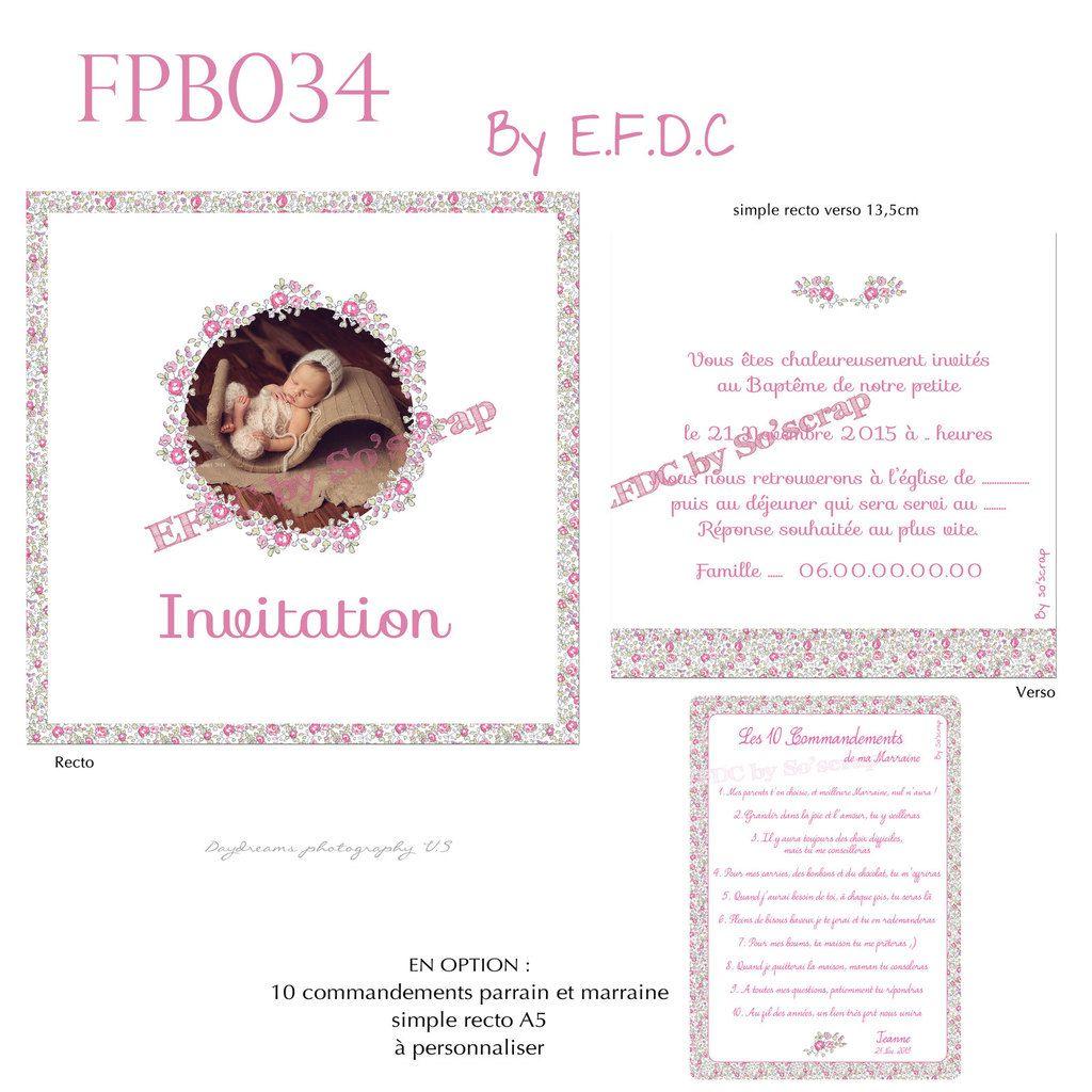 RÉF : FPB034, faire part baptême liberty, recto verso 13,5cm, photo et texte à personnaliser, en option 10 commandements parrain et marraine liberty éloise, scrap digital