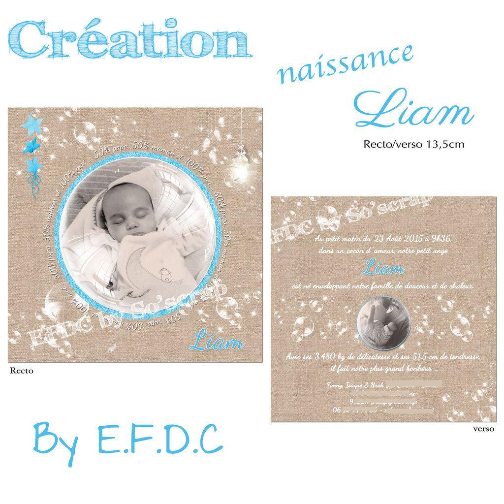 faire part naissance thème bulles, fond imprimé lin beige, turquoise, photos, recto verso 13,5cm, scrap digital, texte à personnaliser