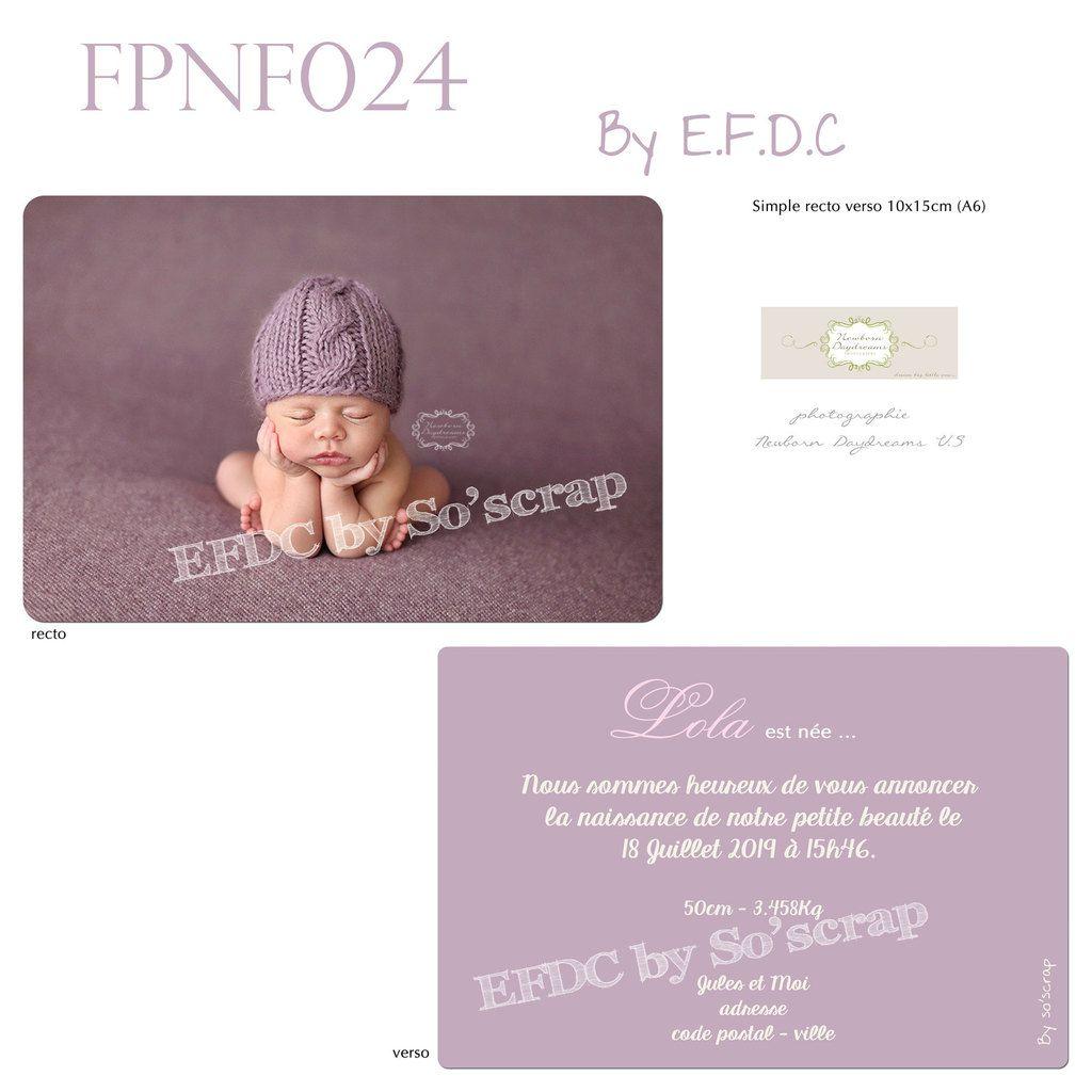 RÉF : FPNF024, faire part naissance fille, coloris mauve, photo et texte à personnaliser, scrap digital, recto/verso 10x15cm, sobre et épuré, couleur modifiable