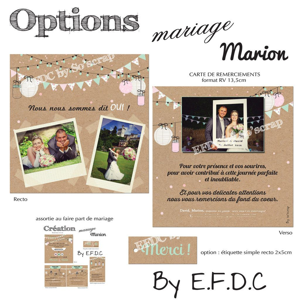 Favori Le Blog d'EFDC by So'scrap - La carte de remerciements mariage de  WM64