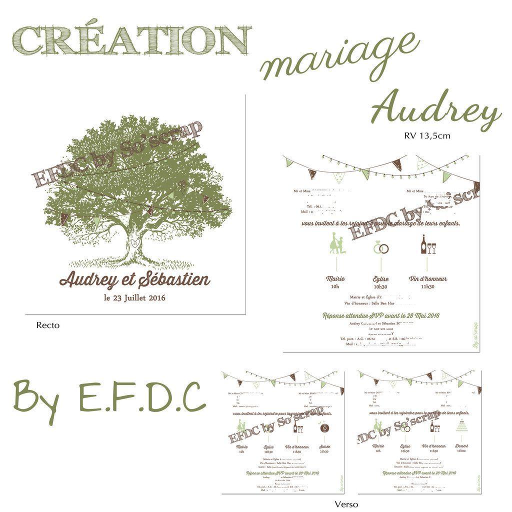 faire part de mariage, recto verso 13,5cm, thème nature, arbre, pictogrammes pour le programme de la journée, scrap digital, guinguette, fanions, guirlande d'ampoules, vert et marron chocolat