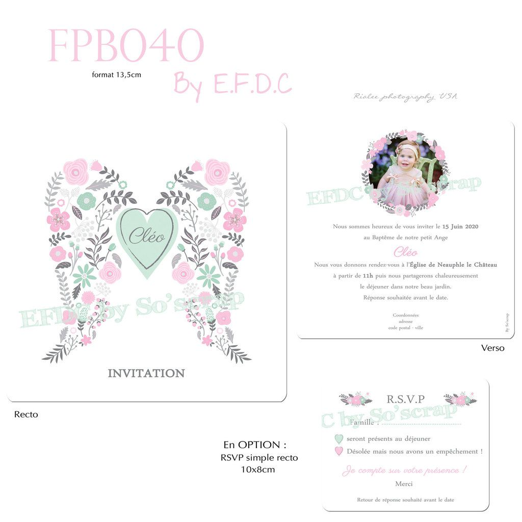 RÉF : FPB040, faire part baptême, 13,5cm recto/verso, thème ange et fleurs, vert mint et rose, couleurs pastels, ailes d'anges, coeur, scrapbooking digital, couleur à personnaliser, création sur mesure, originale et unique, OPTION RSVP, en fin de conte by so'scrap designs