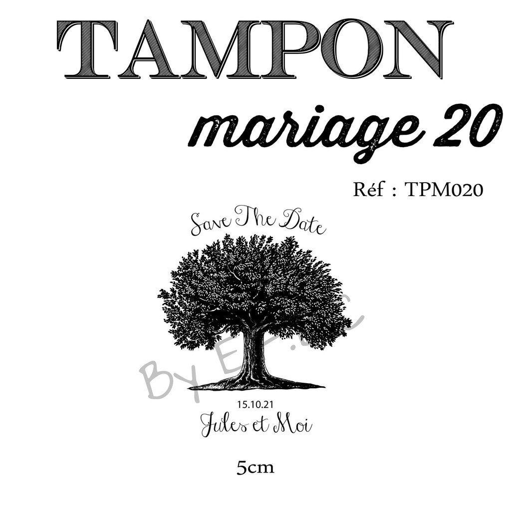 RÉF TPM020 : tampon sur mesure et original, montage sur support bois, save the date, arbre, à personnaliser