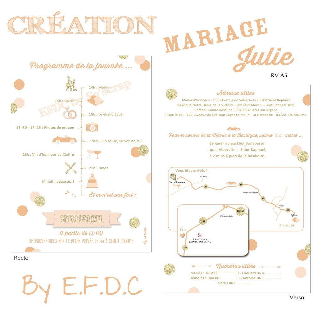 programme mariage + plans, recto verso A5, sur mesure et à personnaliser, pictogrammes pour le programme du jour, thème confettis pêche, abricot et doré (scrap digital pas de relief)