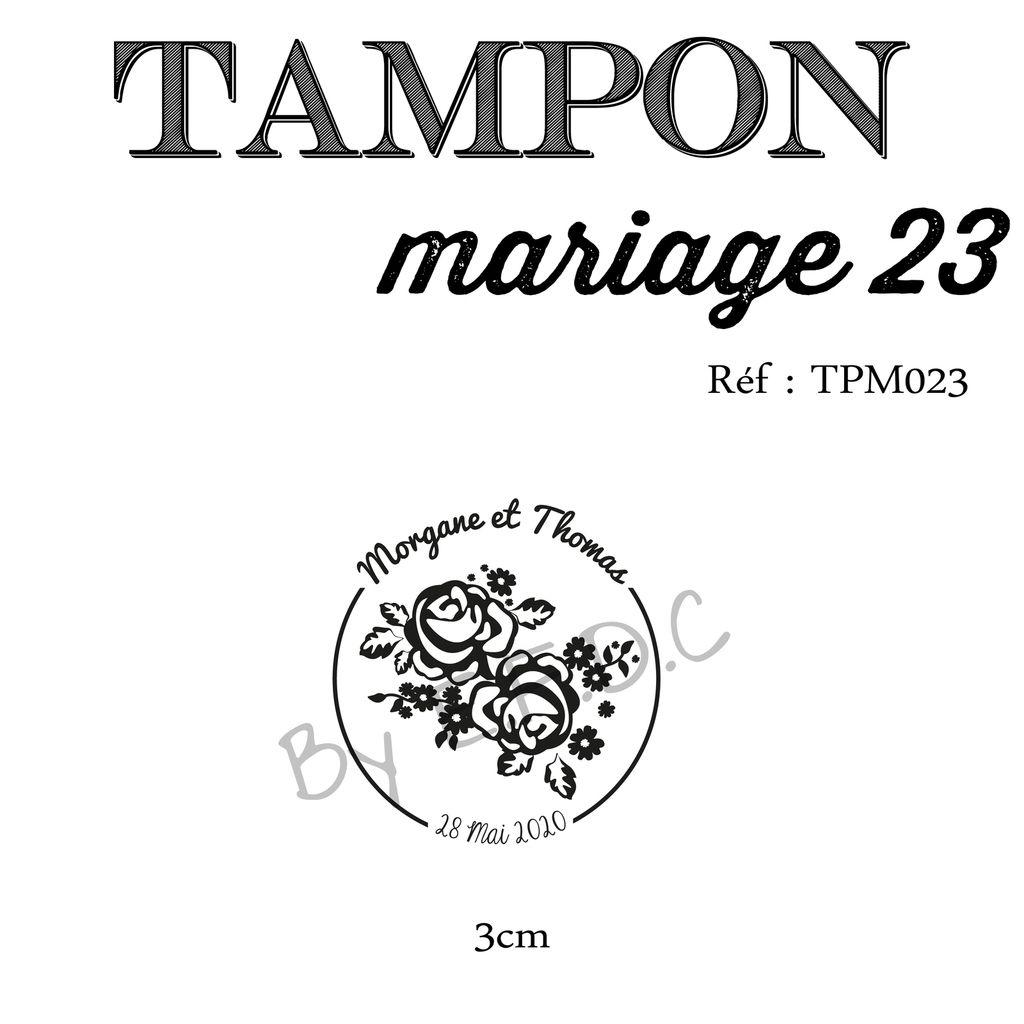 RÉF TPM023 : tampon sur mesure et original, montage sur support bois, thème fleurs, rond, à personnaliser, prénoms des mariés et date mariage