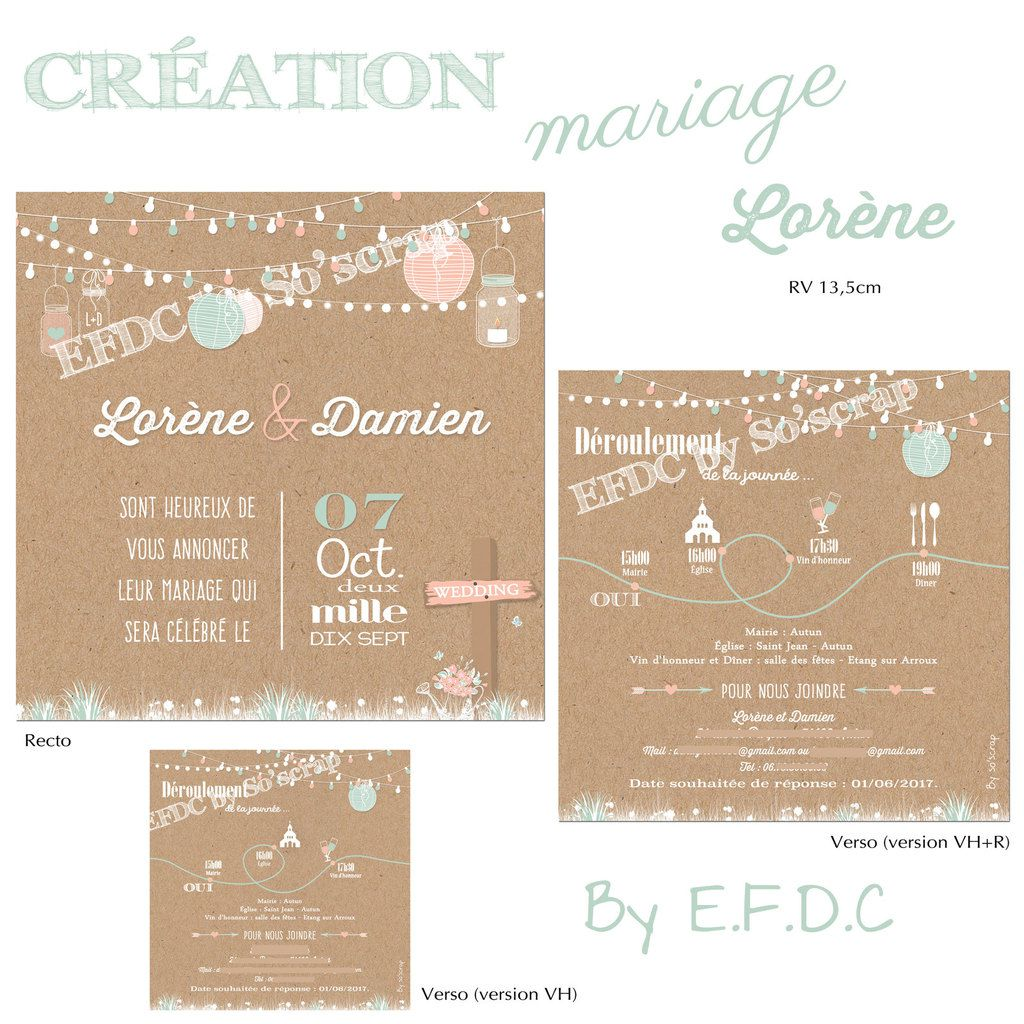 le blog d 39 efdc by so 39 scrap le faire part de mariage de lor ne et damien th me campagne. Black Bedroom Furniture Sets. Home Design Ideas
