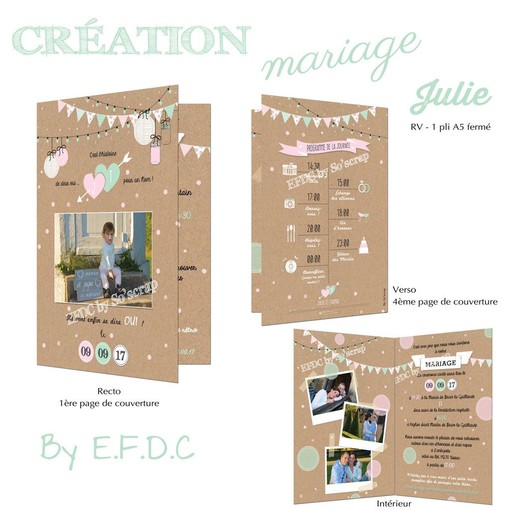 faire part mariage, création sur mesure et personnalisée, thème bucolique et romantique, photo séance engagement, 1 pli A5 fermé, impression fond kraft, scrap digital, fanions, guirlandes guinguette, programme de la journée avec pictogrammes