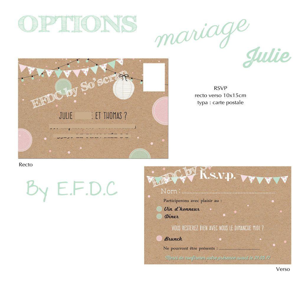 RSVP (carton réponse) à personnaliser, impression fond kraft, recto verso 10x15cm, type carte postale, assorti au faire part de mariage