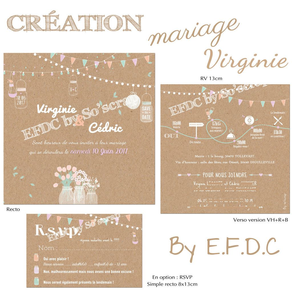 le blog d 39 efdc by so 39 scrap le faire part de mariage champ tre de virginie et c dric. Black Bedroom Furniture Sets. Home Design Ideas