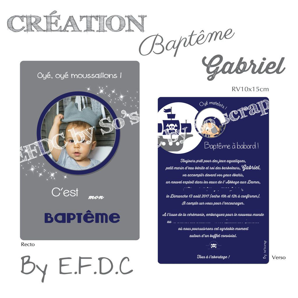 faire part baptême pirate, recto verso 10x15cm, à personnaliser photo et texte, gris et bleu, scrap digital