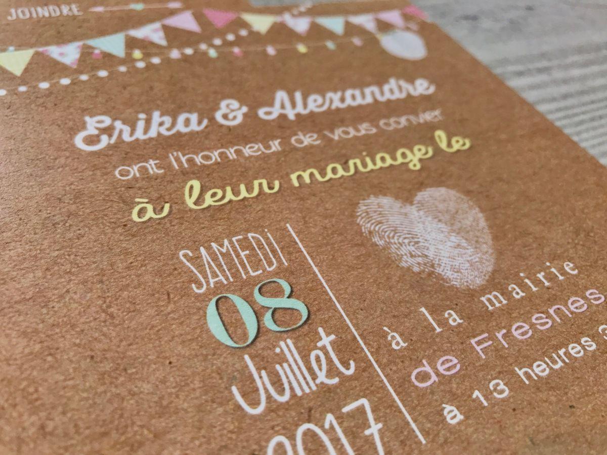 Le faire part de mariage d'Erika et Alexandre : ambiance food truck et champêtre ...