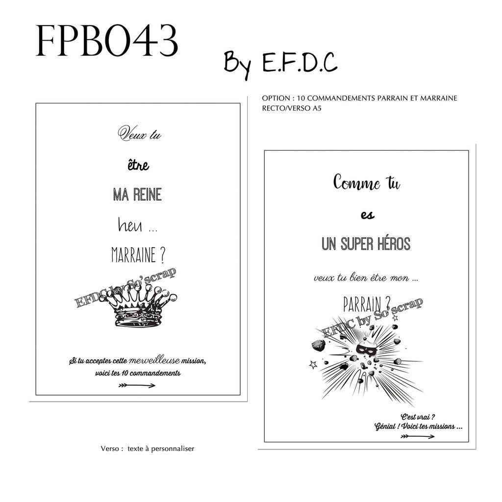 RÉF FPB043, faire part baptême thème super héros, recto verso A6 (10x15cm), à personnaliser, scrap digital, assorti les 10 commandements pour parrain et marraine