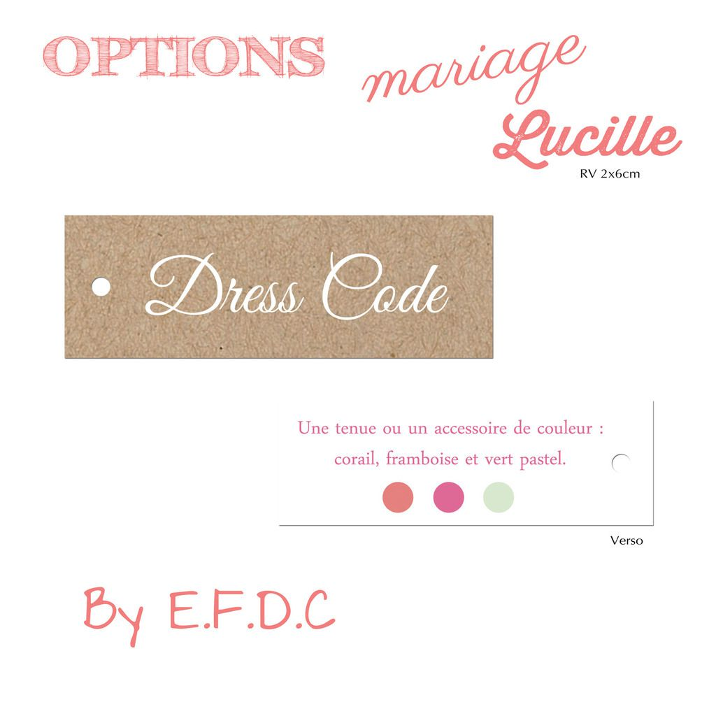 option étiquette dress code recto verso 2x6cm, à personnaliser