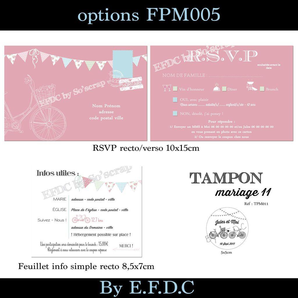 RÉF FPM005, invitation faire part mariage à personnaliser, recto/verso 21x10cm, thème vélo, timeline avec pictogramme pour le programme du jour, scrap digital, fanions, couleur pastel, calendrier pour la date