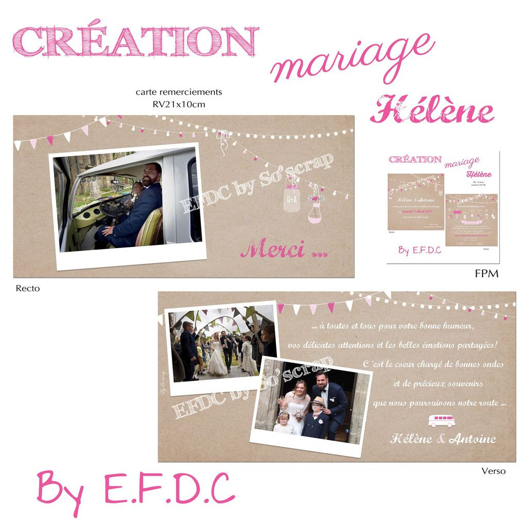 Top Le Blog d'EFDC by So'scrap - La carte de remerciements d'Hélène  KN48