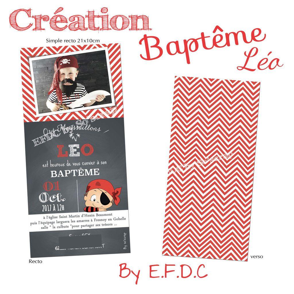 faire part baptême recto verso 21x10cm, à personnaliser texte, couleur et photo, création sur mesure, thème pirate