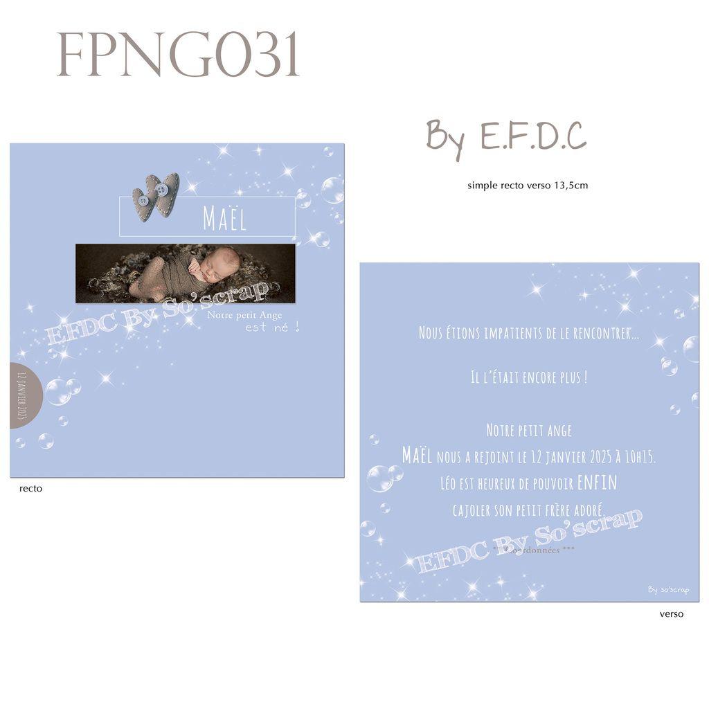 RÉF : FPNG031, faire part naissance garçon thème bulles, recto verso 13,5cm, texte couleur et photo à personnaliser, bulles, étoiles scintillantes (scrap digital)