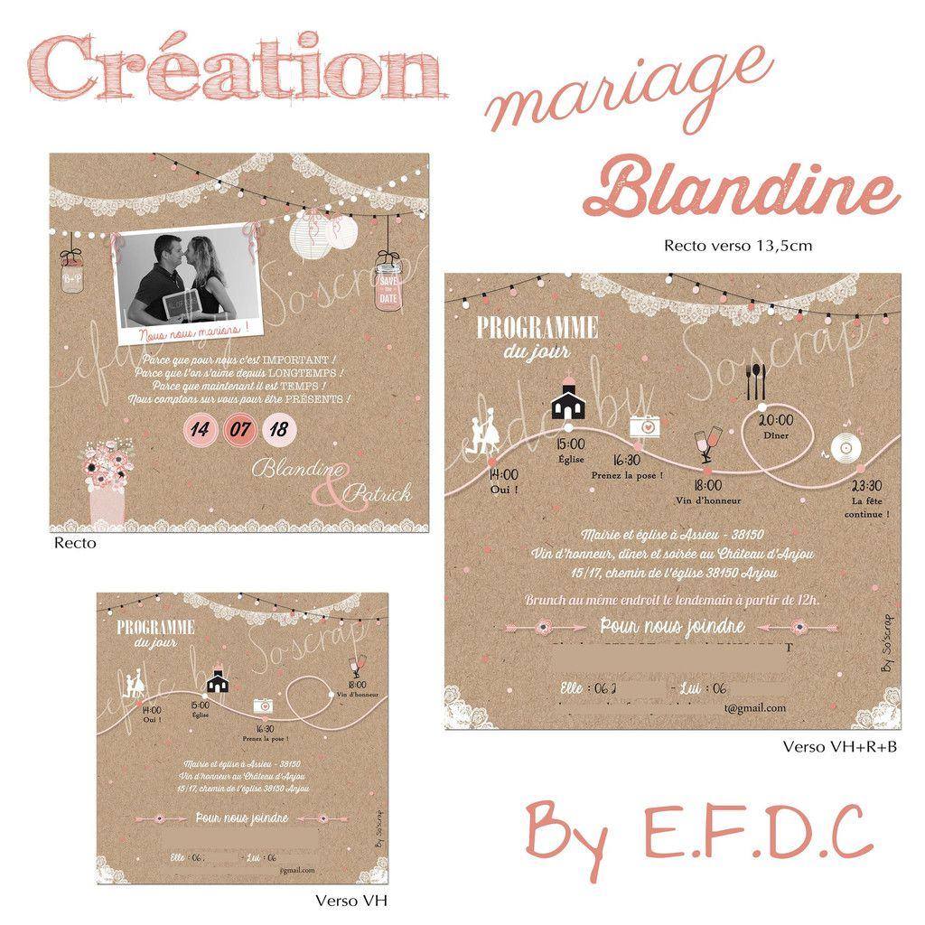 le blog d 39 efdc by so 39 scrap le faire part de mariage de blandine et patrick guinguette chic. Black Bedroom Furniture Sets. Home Design Ideas