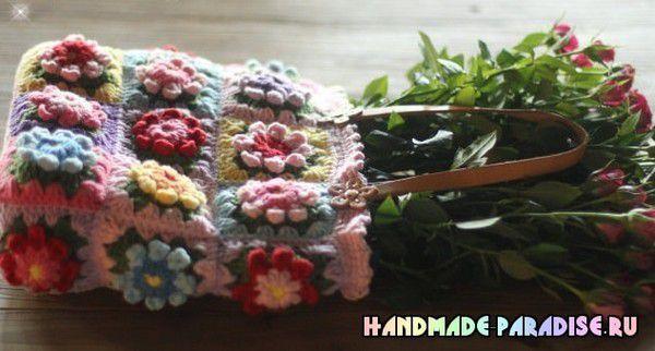 Sac aux carrés Granny fleuris , avec ses grilles gratuites !
