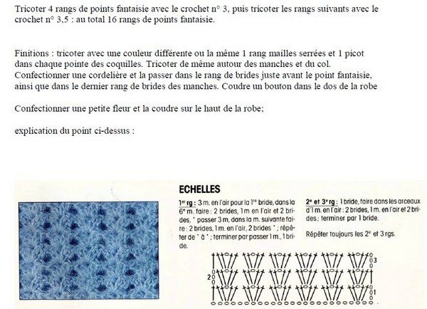 Robe bébé fille , taille 0 à 3 mois , avec des explications en Français !