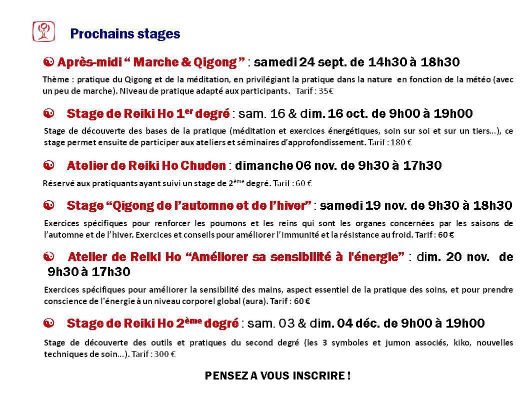 Prochains stages