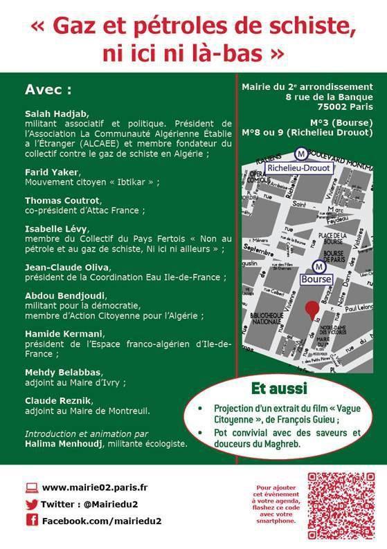 Gaz de schiste : Regards croisés France / Algérie - lundi 29 juin 2015 à 19h