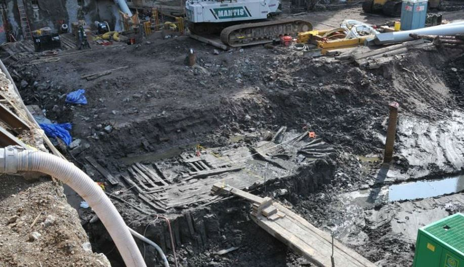 Epave retrouvée dans le chantier de Ground Zero à New-York - photo : Lower Manhattan Development Corporation