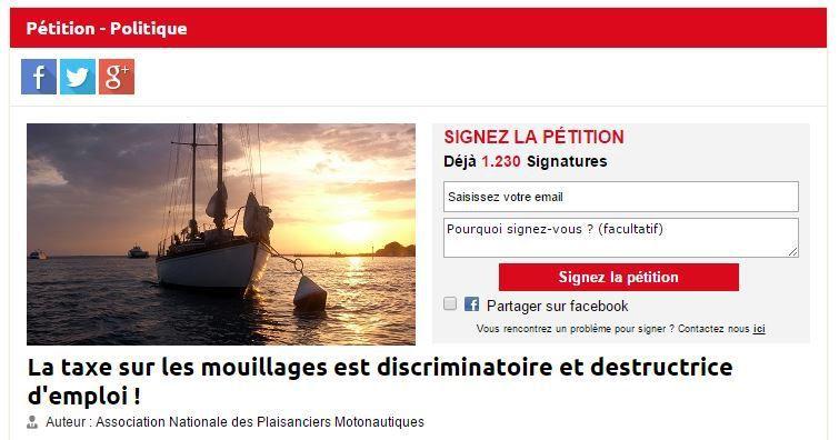 Plaisance - signez la pétition contre la taxe sur les mouillages forains