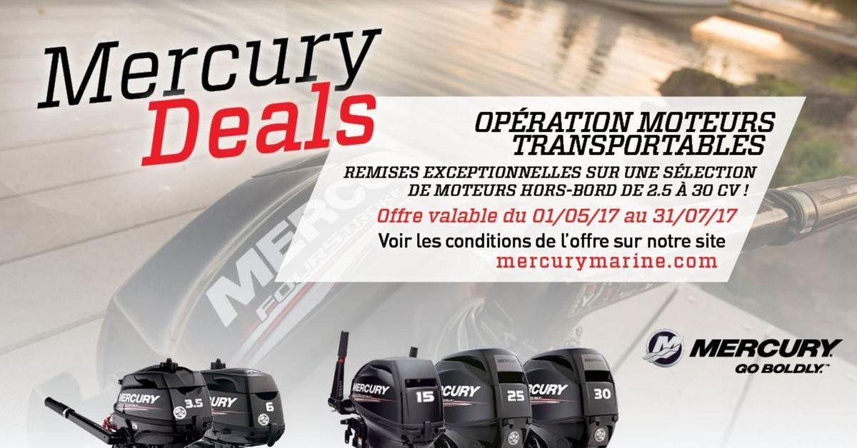 Promotions exceptionnelles sur les moteurs transportables Mercury Marine