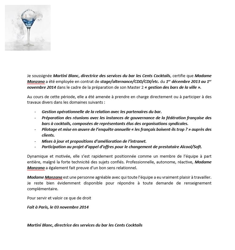 modele lettre de recommandation travail