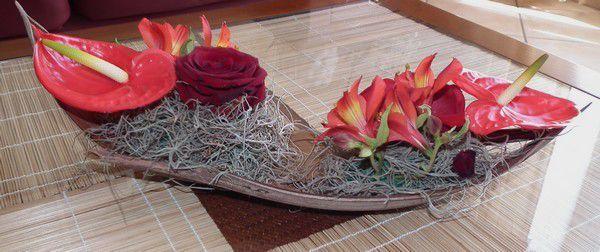 Margaux et ses fleurs... coco et anthurium !
