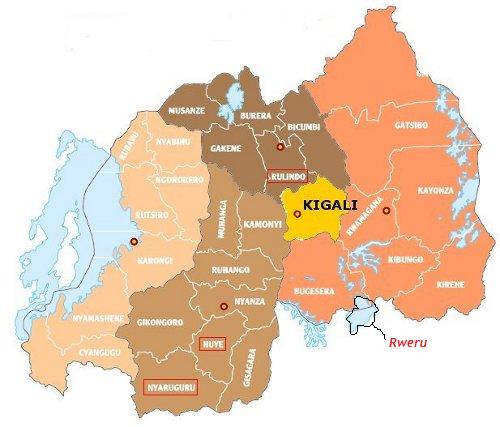 Ikiyaga cya rweru ku ikarita y'u Rwanda