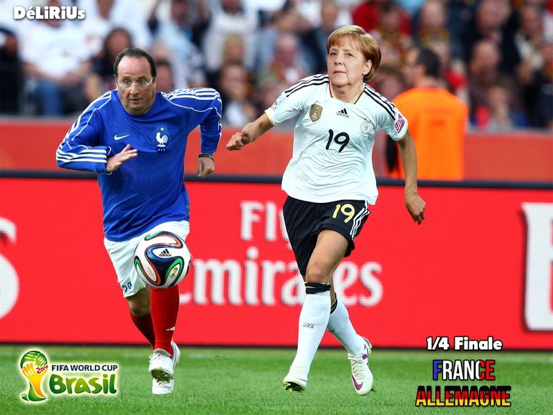 Hollande (France) et Angela Merkel (Allemagne) sur le terrain de football