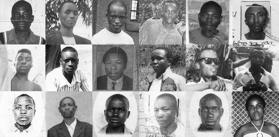 Rangée du haut, de gauche à droite : Juma Ntakingora (exécuté le 21 septembre 2016) &#x3B; Alexandre Bemeriki (exécuté en octobre 2016) &#x3B; Benjamin Niyonzima (exécuté le 16 décembre 2016) &#x3B; Basabose Hakuzimana (exécuté le 6 décembre 2016) &#x3B; Elias Habyarimana (exécuté le 25 mars 2017). Rangée du milieu, de gauche à droite : Samuel Minani (exécuté le 15 décembre 2016) &#x3B; Jean de Dieu Habiyaremye (arrêté fin novembre 2016 et exécuté deux jours plus tard) &#x3B; Ernest Tuyishime (exécuté le 5 août 2016) &#x3B; Thaddée Uwintwali (exécuté le 13 décembre 2016) &#x3B; Emmanuel Ntamuhanga (exécuté en mars 2017). Rangée du bas, de gauche à droite : Fulgence Rukundo (exécuté le 6 décembre 2016) &#x3B; Naftal Nteziriza (exécuté fin décembre 2016) &#x3B; Jeannine Mukeshimana (exécutée le 16 décembre 2016) &#x3B; Jean Kanyesoko (exécuté le 2 août 2016) &#x3B; Emmanuel Hanyurwabake (exécuté fin décembre 2016)