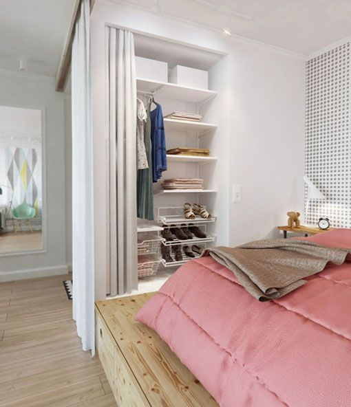 Fantastic idea: the elevated sleeping area to store things and delimitate the space + the integrated wardrobe