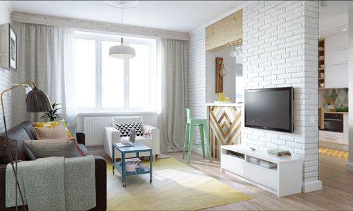 A pastel colored living-room for an impression of peace and brightness