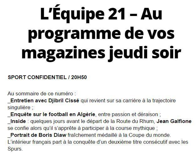 [Jeu 30 Oct] Sport Confidentiel et Esprit Bleus, retrouvez le sommaire de vos magazines à suivre sur l'Equipe 21 !