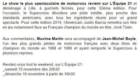 [Infos TV] Le Supercross de retour ce week-end des 15 & 16 novembre sur l'Equipe 21 !