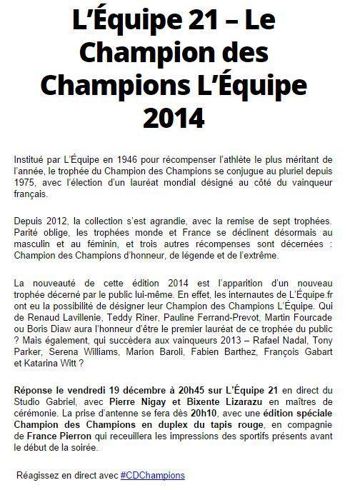 [Ven 19 Déc] La Cérémonie du Champion des Champions à suivre dès 20h10 sur l'Equipe 21 !