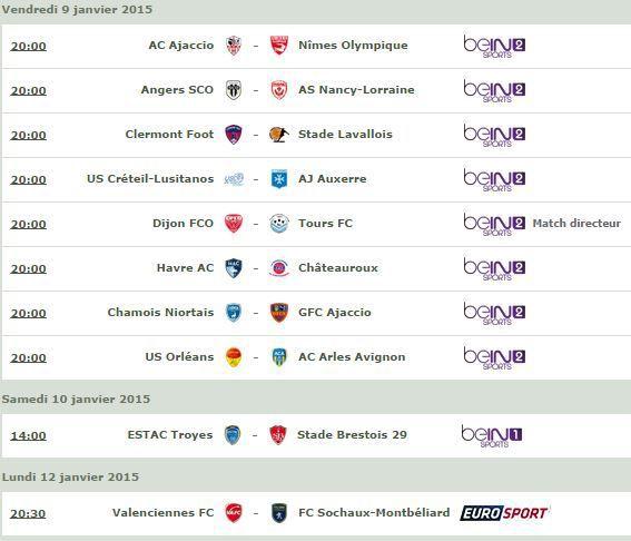 [Infos TV] Football - Le Programme TV de la 19ème Journée de Ligue 2 !