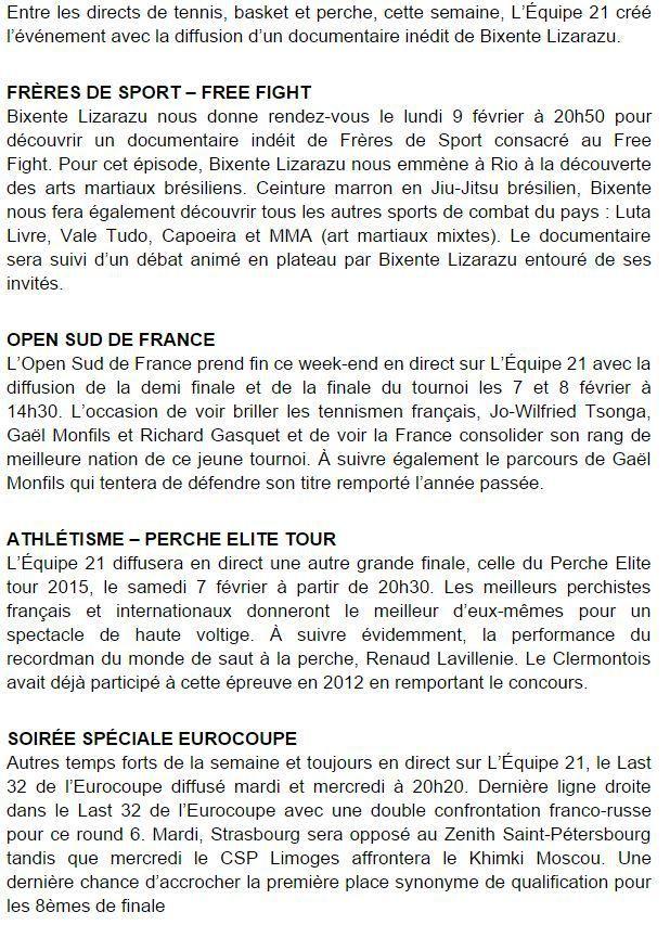 [Infos TV] Les Temps forts à suivre sur l'Equipe 21 la semaine du 07 au 13 février 2015 !